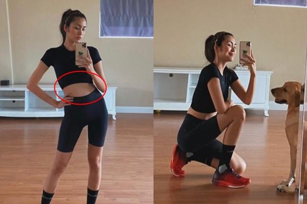 Tăng Thanh Hà hiếm hoi vén áo khoe bụng sau khi tăng 5 cân, nhưng đôi chân siêu thon mới là điểm nhấn