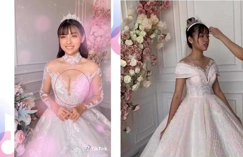 """Đăng ảnh thử váy cưới xinh lung linh, Trần Thanh Tâm đâu ngờ lại bị """"bóc mẽ"""" phiên bản chưa qua chỉnh sửa"""