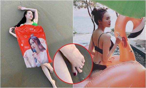 """Mãi mới có tấm ảnh khoe dáng chuẩn, Ninh Dương Lan Ngọc bị fan photoshop """"đắp chăn"""" còn soi bàn chân co quắp để tạo dáng"""