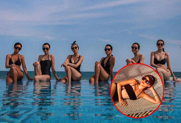 """Hội bạn """"thượng lưu"""" của chị em Hà Tăng - Tiên Nguyễn đồng loạt diện bikini đen khoe body, điểm nhấn vẫn là bà mẹ 2 con ở giữa"""