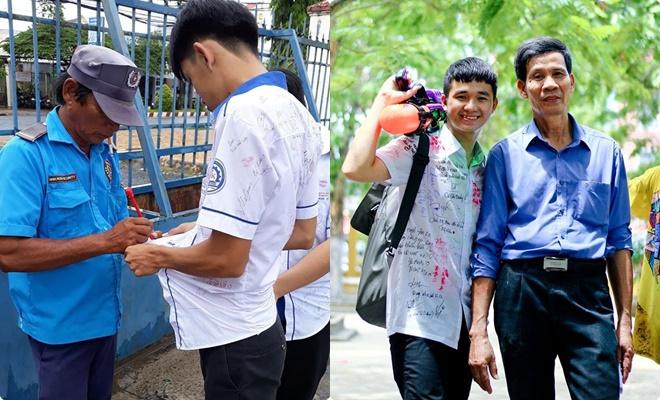 Bức ảnh bác bảo vệ viết lưu bút lên áo học trò gây sốt, dân tình tranh thủ khoe ngay bác bảo vệ trường mình