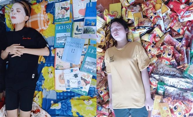 Nữ sinh nằm bên đống sách đắp mask thư giãn trước ngày thi: Kiến thức sẽ thấm sâu vào đầu như dưỡng chất ở mặt nạ vậy!