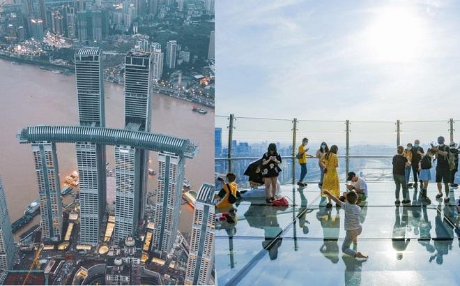 """""""Tòa nhà chọc trời nằm ngang"""" ở độ cao 250 m mới khai trương tại Trung Quốc gây sốt"""