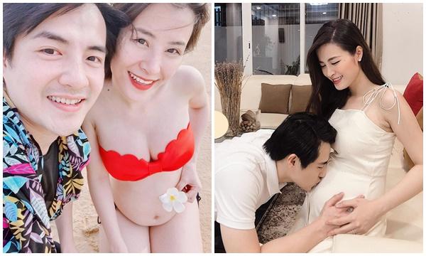 Đông Nhi cuối cùng đã khoe rõ ràng bụng bầu lớn bên Ông Cao Thắng ở tháng thứ 5 thai kỳ