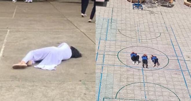 """Khó hiểu những bức ảnh học sinh nằm giữa sân trường, phía sau là sự thật hết sức """"lầy lội"""""""