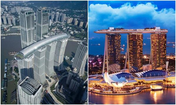 """Trung Quốc ra mắt toà nhà nằm ngang cao nhất thế giới, lập tức dính nghi án """"đạo nhái"""" một công trình nổi tiếng của Singapore?"""