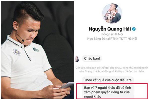 """Lộ tin nhắn Quang Hải đã tìm ra kẻ hack Facebook mình: """"Bạn và 7 người đã xâm phạm quyền riêng tư"""""""