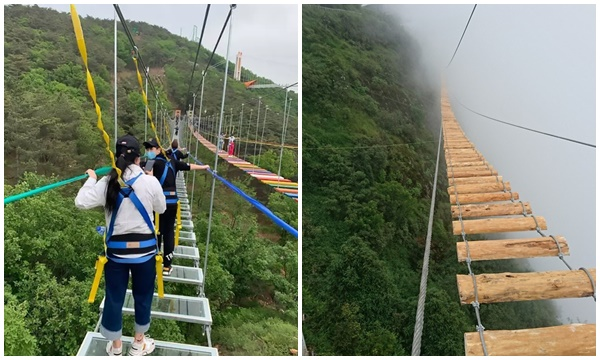 Xuất hiện chiếc cầu treo giữa vách núi cheo leo tại một khu du lịch ở Việt Nam: Trông còn đáng sợ hơn các cây cầu từng thấy ở Trung Quốc
