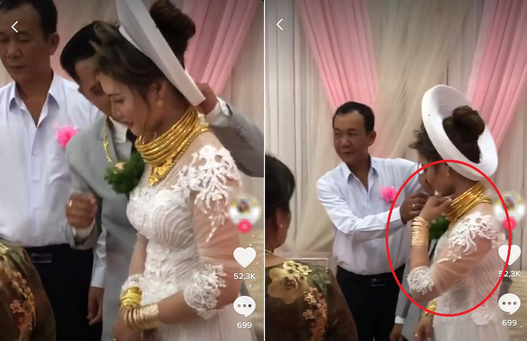 """Lại thêm một cô dâu mang """"gánh nặng vàng"""" suýt vẹo cổ trong ngày cưới: Giàu có hay phô trương?"""