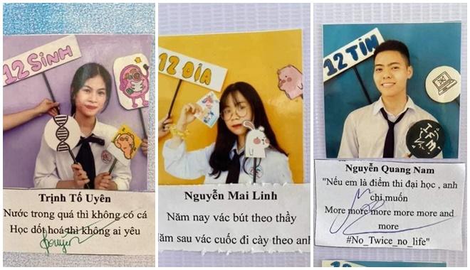 """Học sinh Quảng Ninh làm bộ ảnh kỷ yếu khối với loạt """"quote khó đỡ"""": Đúng là chuyên Hạ Long """"mặn"""" như biển Hạ Long!"""