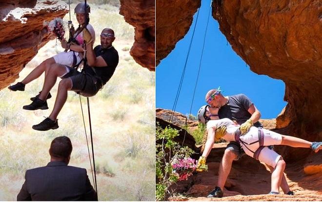 Cặp vợ chồng tổ chức lễ cưới lơ lửng trên vách đá sau khi phải hủy đám cưới hoành tráng do đại dịch