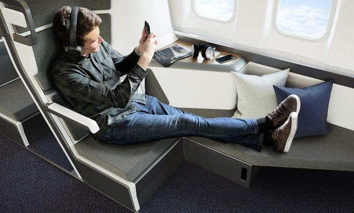 Thiết kế ghế máy bay 2 tầng mới nhất cho phép hành khách nằm thẳng chân trên máy bay