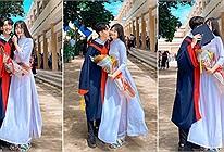Gây sốt với cái thơm má trong ngày bế giảng, cặp đôi học trò được khen ngợi vì chiều cao và nhan sắc đều cả đôi