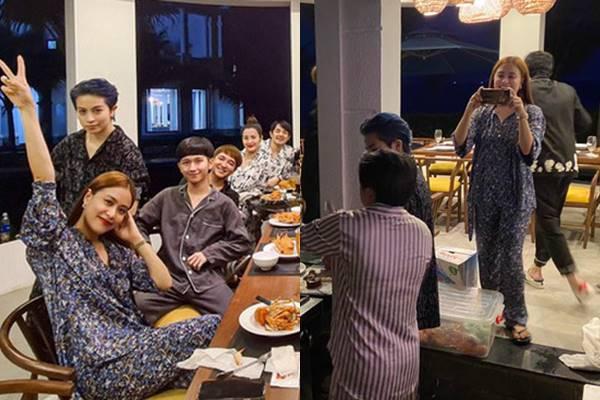 Hoàng Thùy Linh, Gil Lê mặc đồ đôi quấn quýt bên nhau ăn mừng sinh nhật
