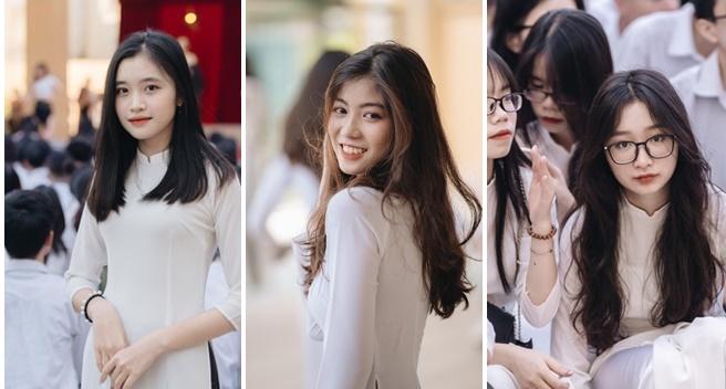 """Dù diện đồng phục hay áo dài trắng, dàn nữ sinh trường THPT Trần Nhân Tông vẫn """"tỏa nắng"""" trong ngày bế giảng"""