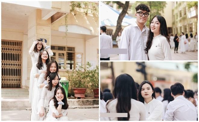 """Dàn """"cực phẩm"""" trường THPT Việt Đức rạng ngời trong đồng phục và áo dài trắng tinh khôi ngày bế giảng"""