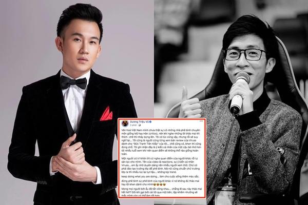 """Dương Triệu Vũ lên tiếng bảo vệ ViruSs khi anh bị chỉ trích vì liên tục """"phê bình"""" sản phẩm các ca sĩ"""