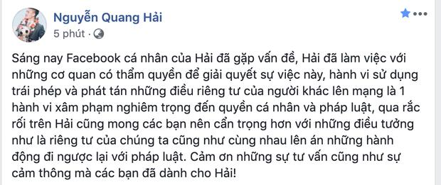 """Vừa """"tái xuất"""" sau 2 tuần """"ở ẩn"""" vì lùm xùm tình ái, Quang Hải đã vội thể hiện lời yêu với Huỳnh Anh"""