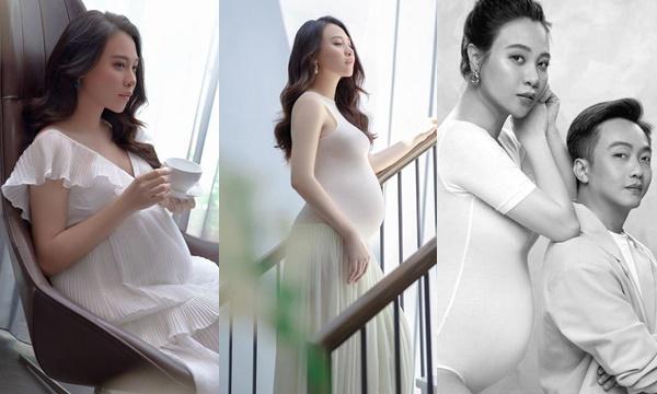 """Trung thành một style từ khi còn mảnh mai đến bụng bầu vượt mặt: Đàm Thu Trang vẫn chọn """"váy trắng, chụp góc nghiêng"""""""