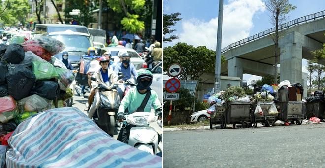 Người dân chặn xe vào bãi rác Nam Sơn khiến rác thải sinh hoạt tại Hà Nội ùn ứ, tràn xuống vỉa hè, lòng đường