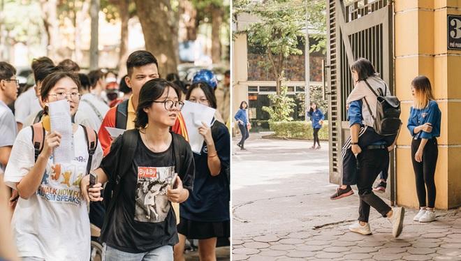 Sĩ tử Hà Nội làm thủ tục thi vào lớp 10 dưới thời tiết nắng gắt, sinh viên tình nguyện sẵn sàng cõng thí sinh sức khỏe yếu