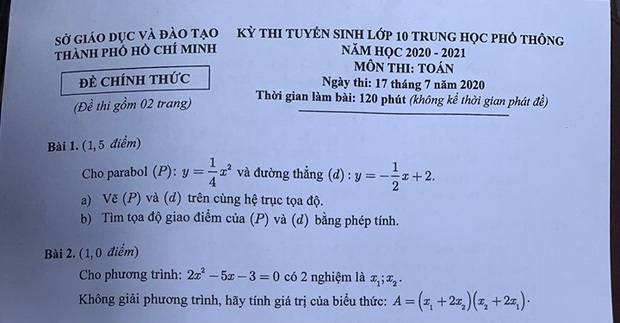 Đề thi môn Toán kỳ thi vào lớp 10 tại TP HCM: Thí sinh nói đề khó, nhiều bạn không làm được bài