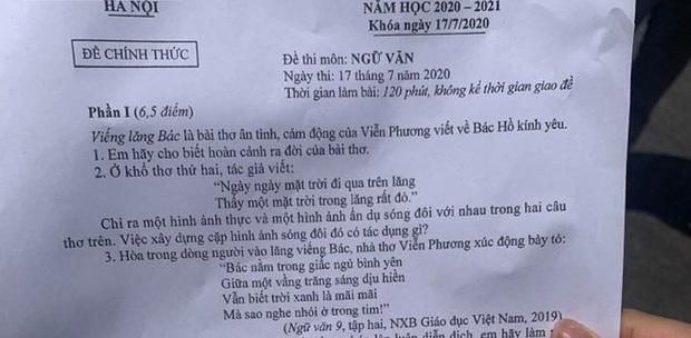 """Đề thi Ngữ văn kỳ thi tuyển sinh lớp 10 năm 2020 tại Hà Nội: Thí sinh """"lệch tủ"""" vì tác phẩm đã có trong đề năm trước"""