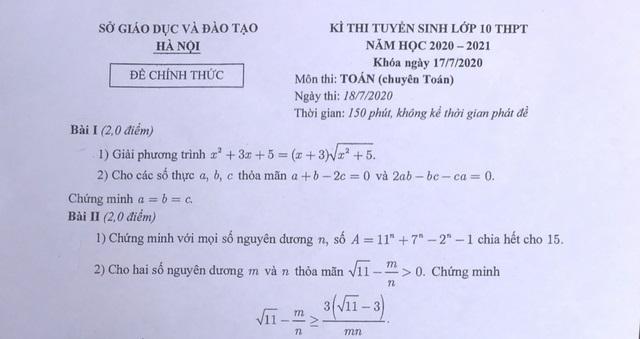Đề thi chuyên Văn, Toán vào lớp 10 của Hà Nội: Đề hay, không quá khó!