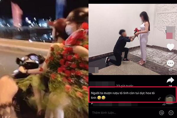 """Thản nhiên khoe chiến tích giật trộm hoa của người đi đường rồi tặng bạn gái, anh chàng nhận về """"mưa gạch đá"""" của dân mạng"""