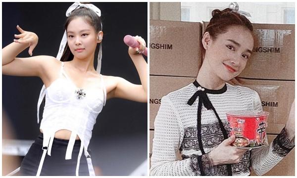 """Vì """"thánh tạo trend"""" Jennie mà đến Nhã Phương cũng miệt mài lấy dây ruy băng cột tóc, cái kết khiến ai cũng trầm trồ"""