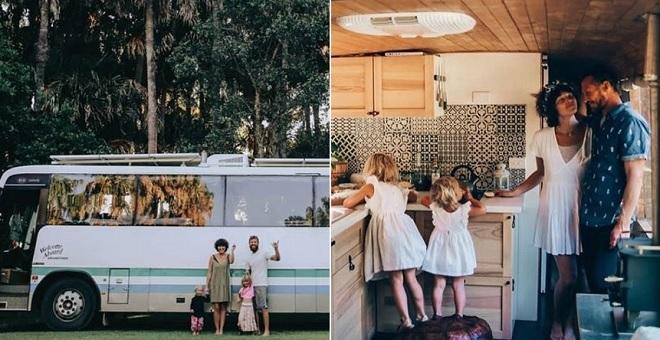 Biến chiếc xe buýt trường học cỡ lớn thành ngôi nhà ấm cúng, cặp vợ chồng cùng hai con nhỏ sống thảnh thơi trên những chặng đường