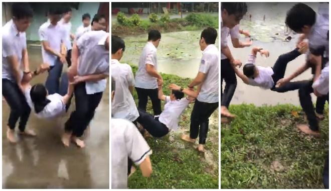 """Buổi học cuối, cô bạn lớp trưởng bị lũ con trai lớp """"xử đẹp"""" với màn tóm cổ quăng thẳng xuống hồ nước"""