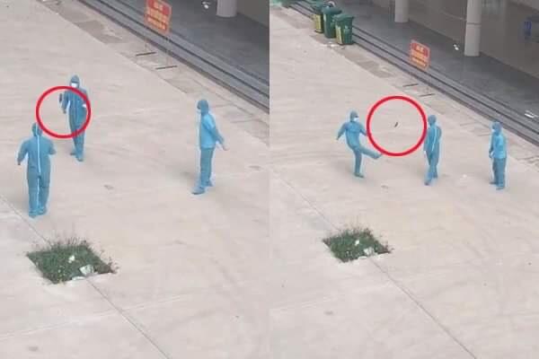 Khoảnh khắc hiếm hoi của 3 chiến sĩ chống dịch Covid-19 mặc bảo hộ kín mít chơi đá cầu gây sốt MXH