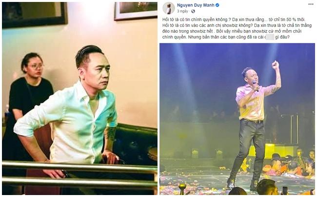 Phát ngôn thách thức trên mạng, ca sĩ Duy Mạnh bị cơ quan chức năng mời lên làm việc