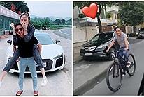 Đẳng cấp chiều vợ của Cường Đô La: Đàm Thu Trang ngồi xế 8 tỷ nhưng chồng vẫn mặc kệ lẽo đẽo đạp xe theo sau