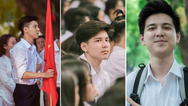 """Nhan sắc của """"hot boy cầm cờ"""" ngày ấy bây giờ: Từ cầm cờ ngày khai giảng đến nụ cười rạng rỡ hôm thi tốt nghiệp"""
