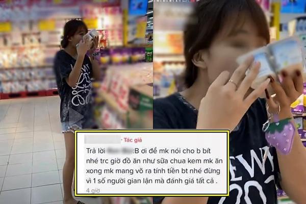 """Cô gái bóc cả vỉ sữa chua trong siêu thị ăn tại chỗ, bị """"ném đã"""" còn thách thức: Trước giờ mình vẫn hay ăn như vậy có sao đâu"""