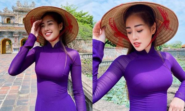 """Diện áo dài tím Huế mộng mơ duyên dáng, HH Khánh Vân bỗng mắc lỗi trang điểm cơ bản khiến gương mặt """"cứng đơ"""""""