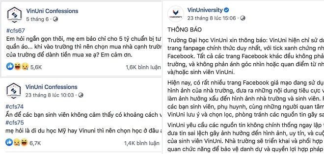 Đại học VinUni gián tiếp tuyên bố VinUni Confessions là trang giả danh nhà trường