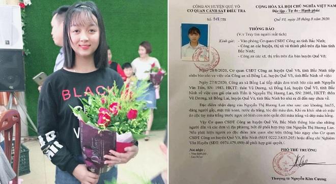 """Công an phát thông báo tìm nữ sinh Bắc Ninh, người bố cho biết: """"Gần 3 ngày nhưng vẫn chưa tìm thấy con"""""""