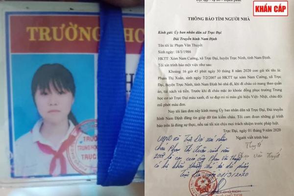 Nữ sinh 2k7 Nam Định mất tích: Gia đình nhờ trích xuất camera thấy đi qua tuyến đường sang Ninh Bình