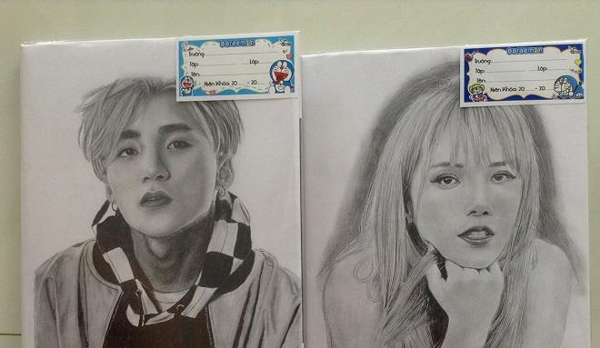 """""""Cực phẩm"""" tranh vẽ trên bìa vở của nữ sinh 2k2, từ Sơn Tùng M-TP đến BTS, Blackpink xinh như ảnh chụp"""