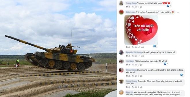 """Dân mạng """"đi bão"""" bằng trăm ngàn bình luận chúc mừng đội xe tăng Việt Nam vô địch Tank Biathlon"""