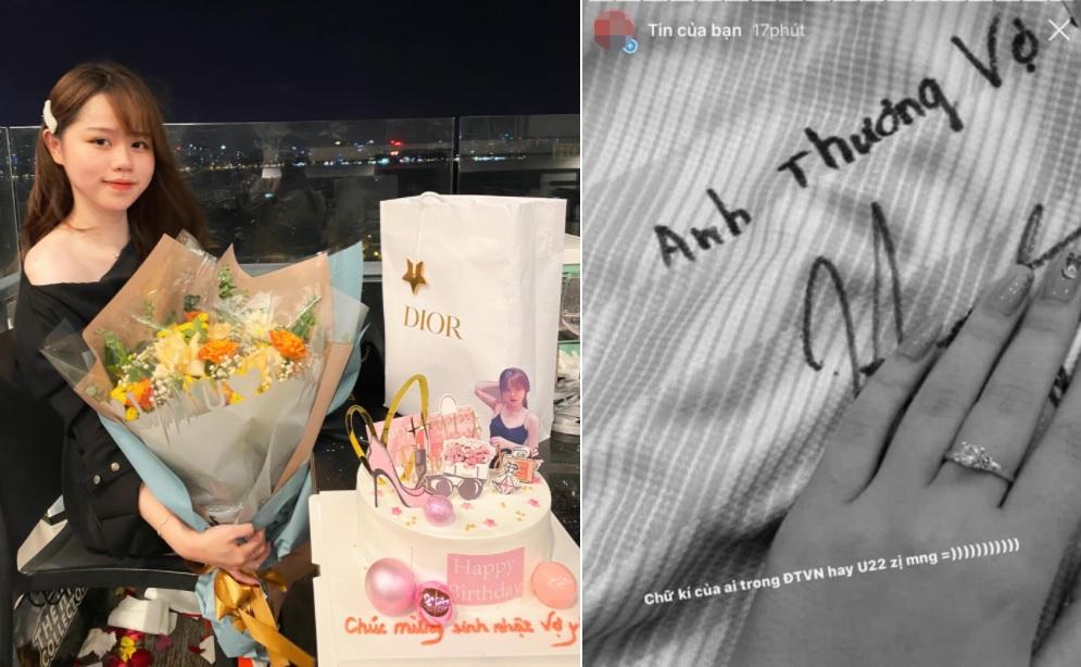 """Huỳnh Anh khoe được tặng bánh sinh nhật kèm chữ """"vợ yêu"""", anti fan liền """"chọc ngoáy"""": Quang Hải cũng từng gọi loạt tình cũ là vợ"""