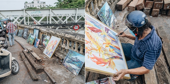 """Gặp họa sĩ nghèo bán tranh trên cầu Long Biên: """"Trừ tiền màu, họa phẩm vẫn còn chút đong gạo"""""""