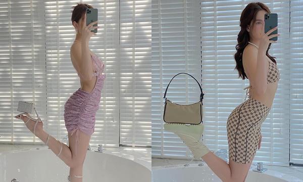 Không bõ hơn chục năm trong nghề, Ngọc Trinh tạo dáng bá đạo 2in1: vừa khoe túi, vừa khoe dáng