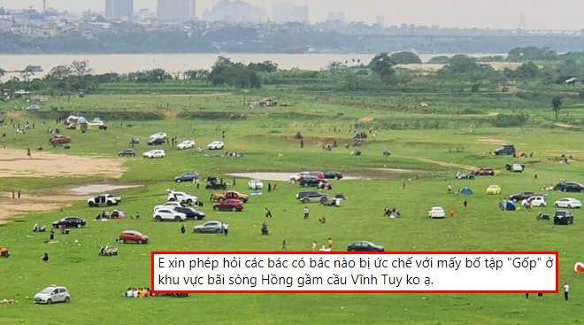 """Nhiều ý kiến trái chiều về """"sân golf tự phát"""" ở bãi sông Hồng dưới chân cầu Vĩnh Tuy"""