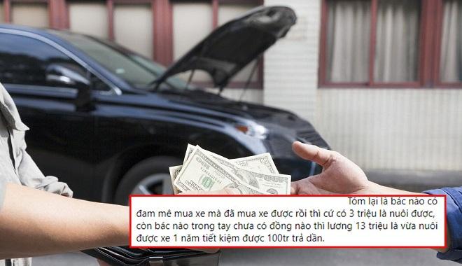 """Tranh luận """"gắt"""" về trường hợp lương 13 triệu vay mua ô tô, 10 triệu trả lãi và nuôi xe 3 triệu"""