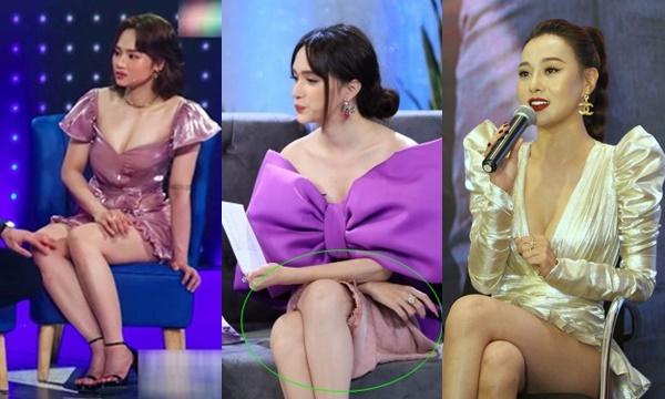 Trưng dụng váy ngắn triệt để khoe chân thon dài, các mỹ nhân Việt gặp sự cố liên tiếp trên sóng truyền hình
