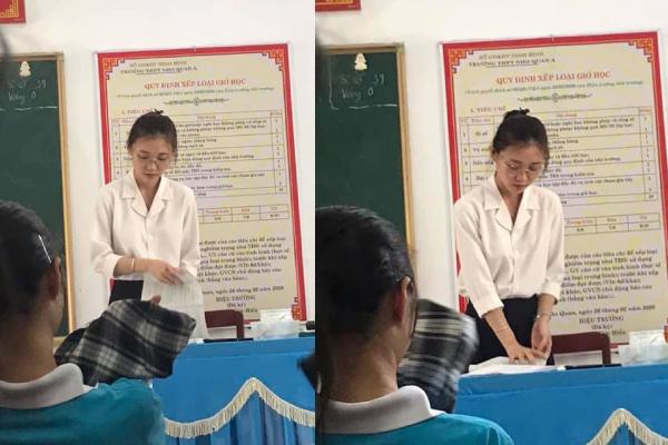 Học sinh chụp lén, cô giáo gây sốt với khoảnh khắc xinh đẹp, trẻ trung chẳng kém gì học trò